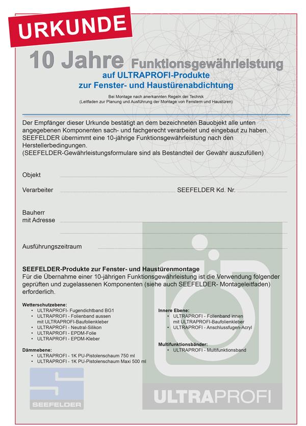 ULTRAprofi Urkunde Funktionsgarantie